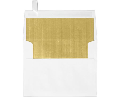 A2 Invitation Envelopes (4 3/8 x 5 3/4) White w/Gold LUX Lining