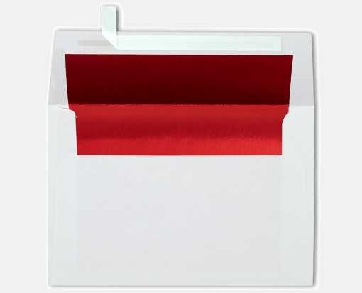 A4 Foil Lined Invitation Envelopes (4 1/4 x 6 1/4) White w/Red LUX Lining