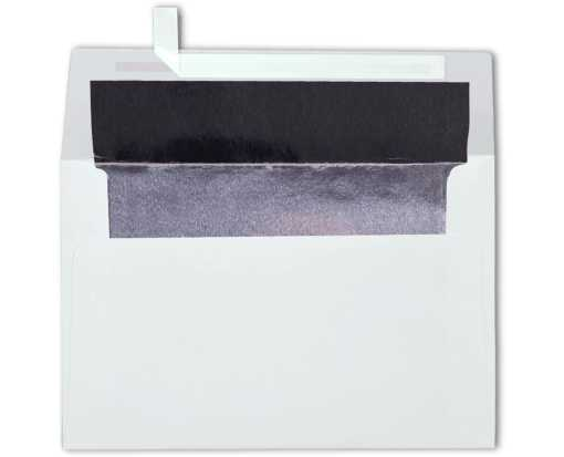 A4 Foil Lined Invitation Envelopes (4 1/4 x 6 1/4) White w/Silver LUX Lining