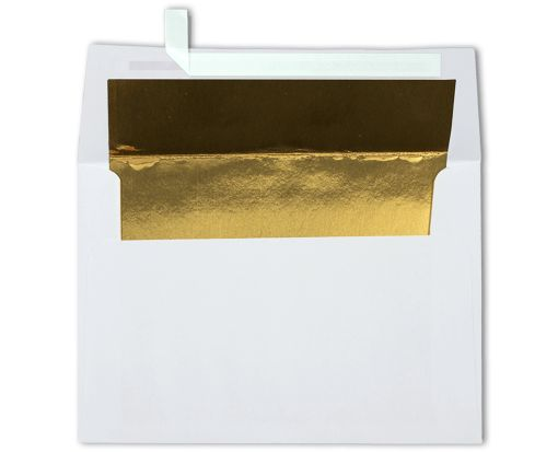 A4 Foil Lined Invitation Envelopes (4 1/4 x 6 1/4) White w/Gold LUX Lining