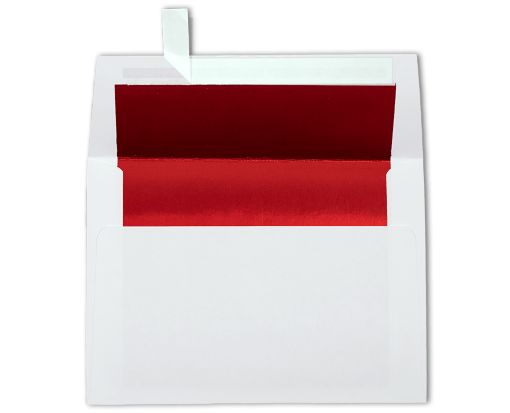 A6 Foil Lined Invitation Envelopes (4 3/4 x 6 1/2) White w/Red LUX Lining
