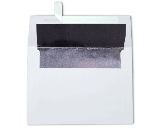 A6 Foil Lined Invitation Envelopes (4 3/4 x 6 1/2) White w/Silver LUX Lining