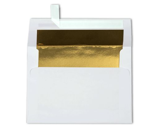 A6 Foil Lined Invitation Envelopes (4 3/4 x 6 1/2) White w/Gold LUX Lining