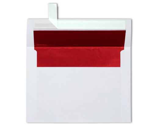 A7 Foil Lined Invitation Envelopes (5 1/4 x 7 1/4) White w/Red LUX Lining