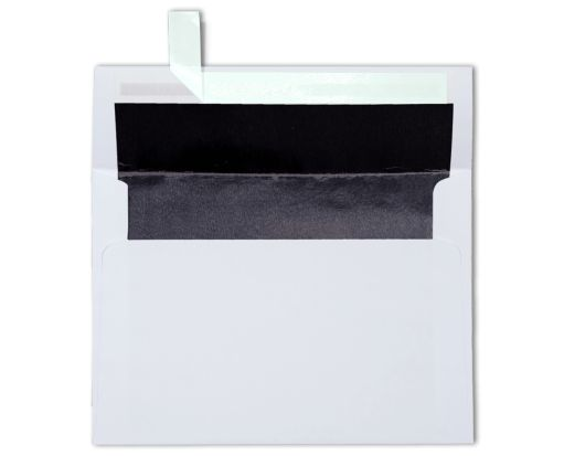 A7 Invitation Lined Envelopes (5 1/4 x 7 1/4) White w/Black LUX Lining