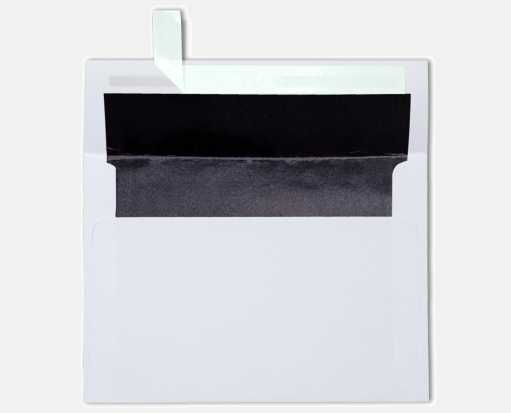 A7 Foil Lined Invitation Envelopes (5 1/4 x 7 1/4) White w/Black LUX Lining