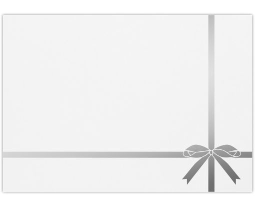 A7 Foil Lined Invitation Envelopes (5 1/4 x 7 1/4) Silver Bow on White