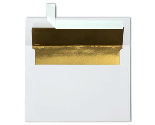 A7 Foil Lined Invitation Envelopes (5 1/4 x 7 1/4) White w/Gold LUX Lining