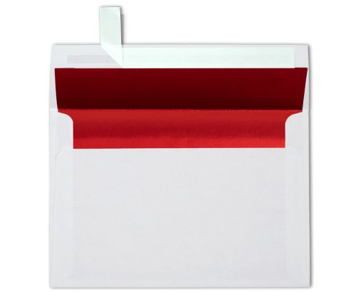 A8 Foil Lined Invitation Envelopes (5 1/2 x 8 1/8) White w/Red LUX Lining