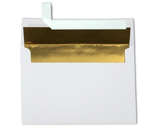 A8 Foil Lined Invitation Envelopes (5 1/2 x 8 1/8) White w/Gold LUX Lining