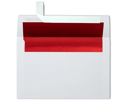 A9 Foil Lined Invitation Envelopes (5 3/4 x 8 3/4) White w/Red LUX Lining