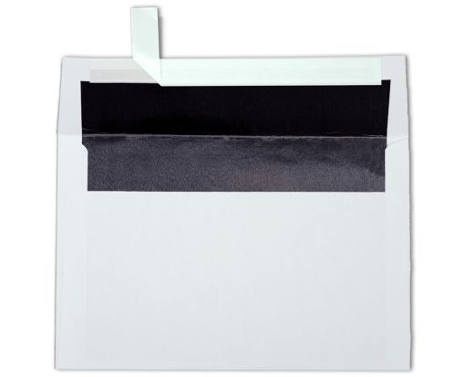 A9 Foil Lined Invitation Envelopes (5 3/4 x 8 3/4) White w/Black LUX Lining