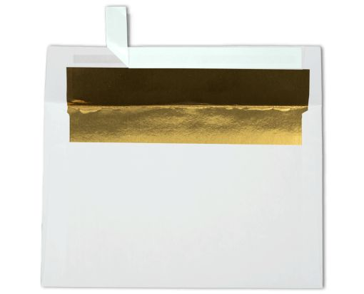A9 Foil Lined Invitation Envelopes (5 3/4 x 8 3/4) White w/Gold LUX Lining