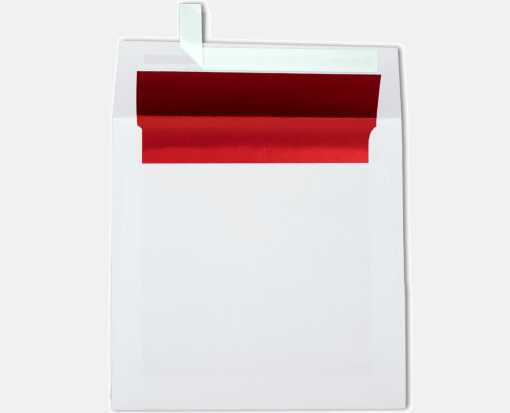 6 1/2 x 6 1/2 Foil Lined Square Envelopes White w/Red LUX Lining