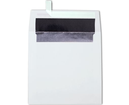 6 1/2 x 6 1/2 Square Lined Envelopes White w/Silver LUX Lining