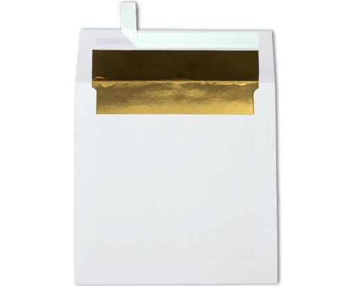 6 1/2 x 6 1/2 Foil Lined Square Envelopes White w/Gold LUX Lining