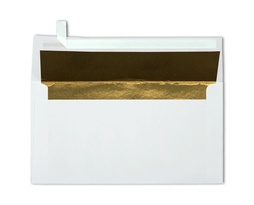 Photo Greeting Foil Lined Invitation Envelopes (4 3/8 x 8 1/4) White w/Gold LUX Lining
