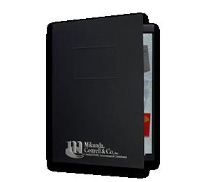"9 x 12 Presentation Folders - One Pocket (Left) w/ Document Attachment Tab & 1"" Double Scored Spine | Folders.com"