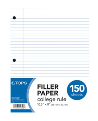 8 1/2 x 10 1/2 Loose Leaf Paper - College Ruled in White are perfect for note-taking, homework or school. This medium weight, high quality paper is 3-hole punched for use in standard 3 ring binders. Quantities start at 3,600 sheets = 24 packs!