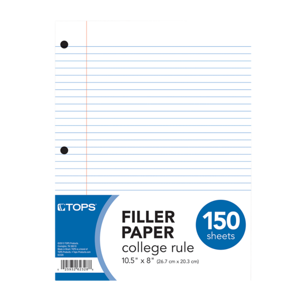 8 1/2 x 10 1/2 Loose Leaf Paper - College Ruled White