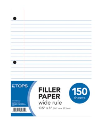 8 1/2 x 10 1/2 Loose Leaf Paper - Wide Ruled in White are perfect for note-taking, homework or school. This medium weight, high quality paper is 3-hole punched for use in standard 3 ring binders. Quantities start at 3,600 sheets = 24 packs! Made in the USA.