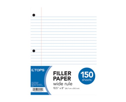 8 1/2 x 10 1/2 Loose Leaf Paper - Wide Ruled White