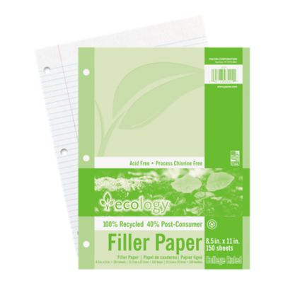 8 1/2 x 11 Ecology Loose Leaf Paper - 3 Hole Punch in White is perfect for notes, homework or school. This college ruled, high quality paper is 3-hole punched for use in standard 3 ring binders. Each pack contains 150 sheets of paper.