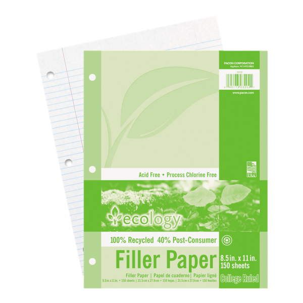 8 1/2 x 11 Ecology Loose Leaf Paper - 3 Hole Punch White