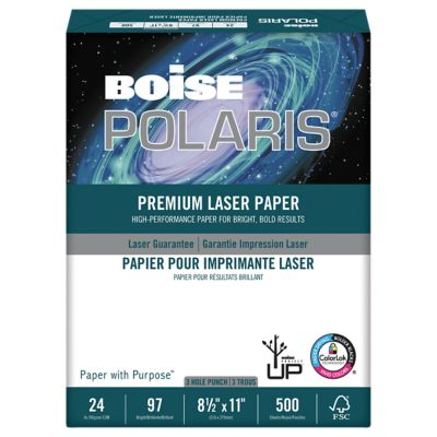 8 1/2 x 11 Polaris Premium Laser Paper - 3 Hole Punch in White is high performance paper designed for use in color copiers, color laser printers and monochrome printers. The smooth surface ensures fine quality copies and prints. Great for double sided printing and copying.