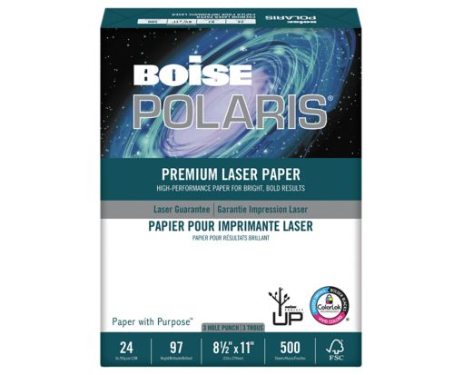 8 1/2 x 11 Polaris Premium Laser Paper - 3 Hole Punch - Pack of 500 Sheet White