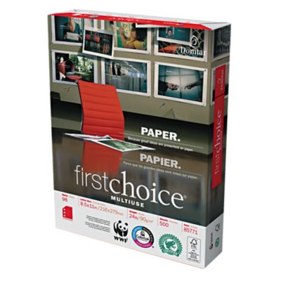 8 1/2 x 11 Domtar Premium Multipurpose Paper - 3 Hole Punch White