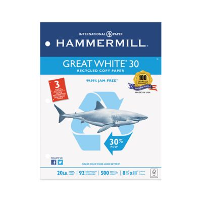 8 1/2 x 11 Hammermill Recycled Copy Paper - 3 Hole Punch in 20lb. White is versatile high performance paper designed for use in offices, printers and copiers. Ideal for reports, general documents and proposals. This paper easily moves through equipment for jam free printing and copying and is great for double sided printing. Each carton contains 5000 sheets of paper.