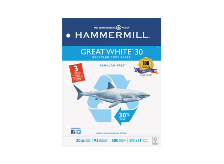 8 1/2 x 11 Hammermill Recycled Copy Paper - 3 Hole Punch White