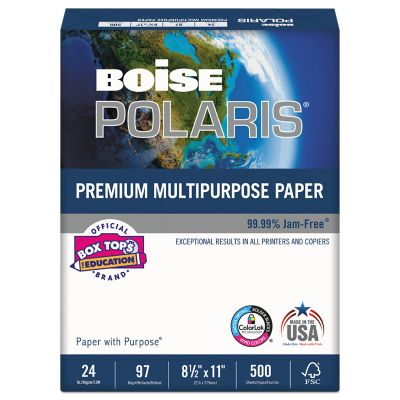 8 1/2 x 11 Boise Premium Multipurpose Paper - 3 Hole Punch in White is versatile high performance paper designed for use in offices, printers and copiers. Ideal for reports, general documents and proposals. This paper easily moves through equipment for jam free printing and copying and is great for double sided printing. Made in the USA. Quantities start at 5000 sheets.