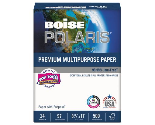 8 1/2 x 11 Boise Premium Multipurpose Paper - 3 Hole Punch White