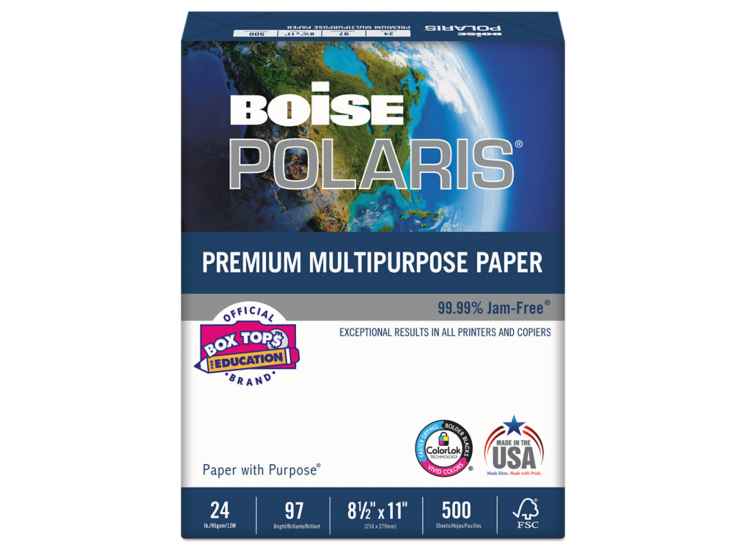 8 1/2 x 11 Boise Premium Multipurpose Paper - 3 Hole Punch White