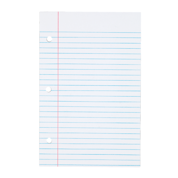 5 1/2 x 8 1/2 Loose Leaf Paper - College Ruled White
