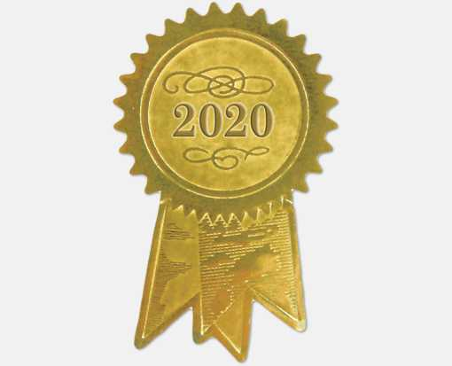 Embossed Foil Seals (1 1/4 x 2) Gold 2020 Ribbon