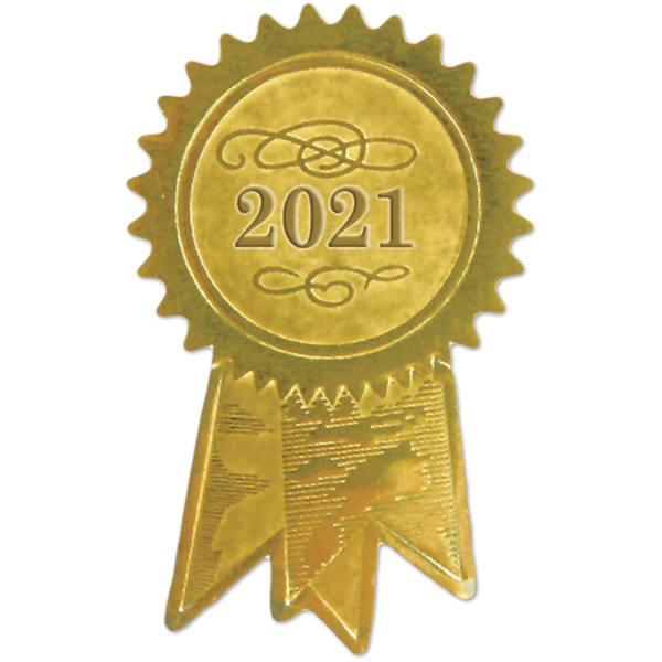 1 1/4 x 2 Embossed Foil Seal Gold
