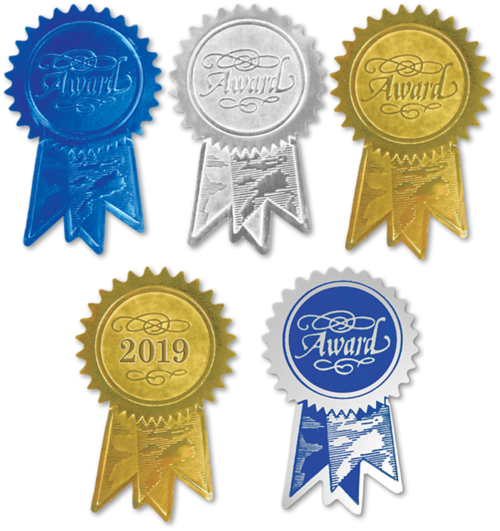 Embossed Foil Seals (1 1/4 x 2) Gold Award Ribbon