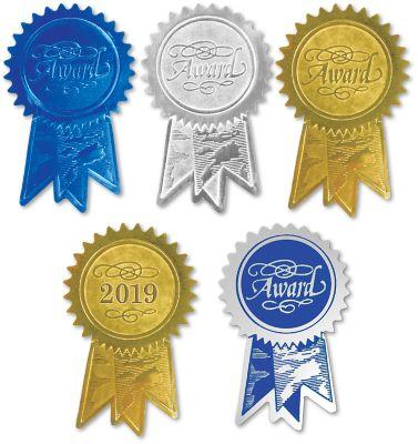Embossed Foil Seals (1 1/4 x 2) Gold Award Ribbon