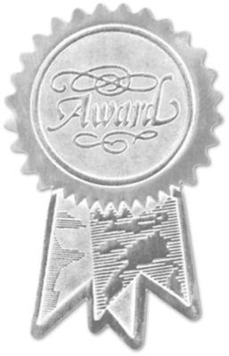 Embossed Foil Seals (1 1/4 x 2) Silver Award Ribbon
