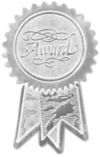 Embossed Foil Seals (1 1/4 x 2) Silver Award Ribbon