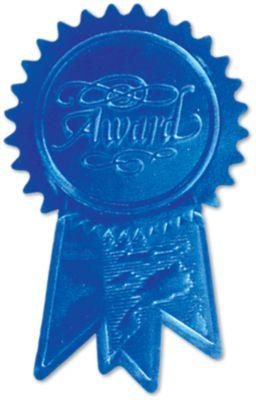 Embossed Foil Seals (1 1/4 x 2) Blue Award Ribbon