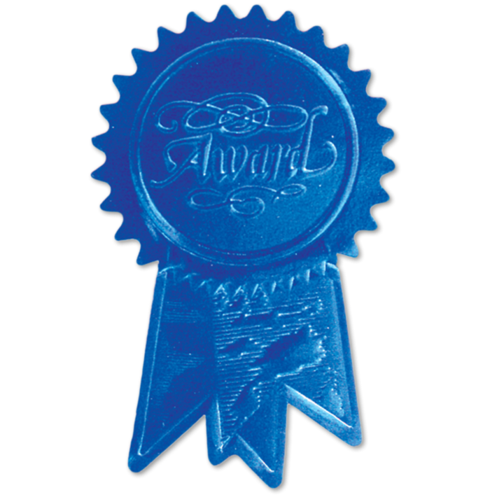 Embossed Foil Seals (1 1/4 x 2) Blue Award Ribbon