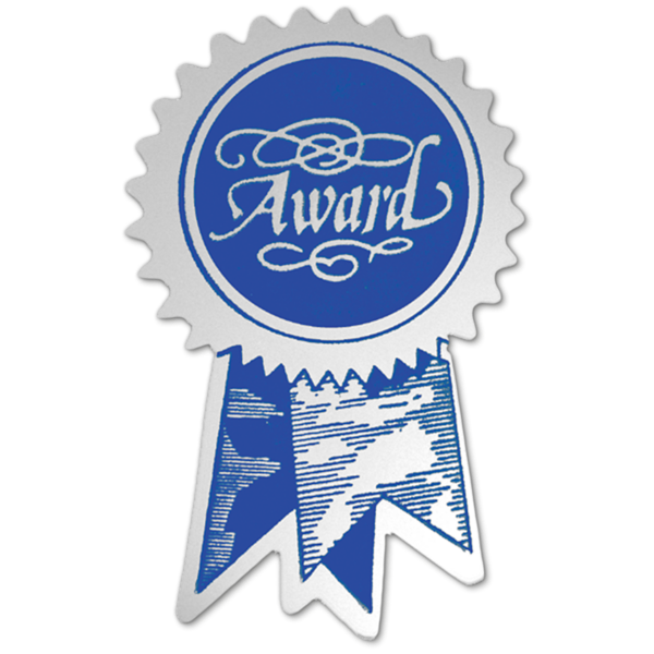 Embossed Foil Seals (1 1/4 x 2) Silver Blue Ribbon