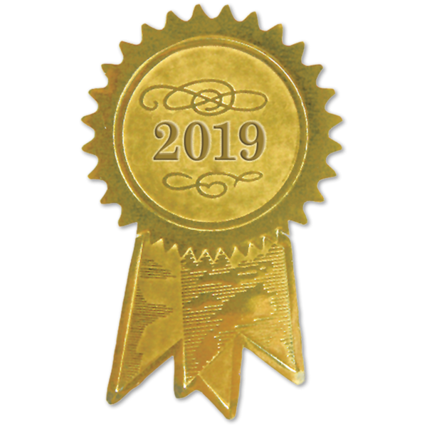 Embossed Foil Seals (1 1/4 x 2) Gold 2019 Ribbon