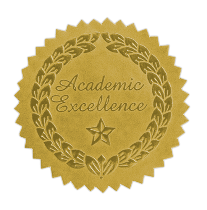 Embossed Foil Seals (1 1/2) Gold Academic Excellence