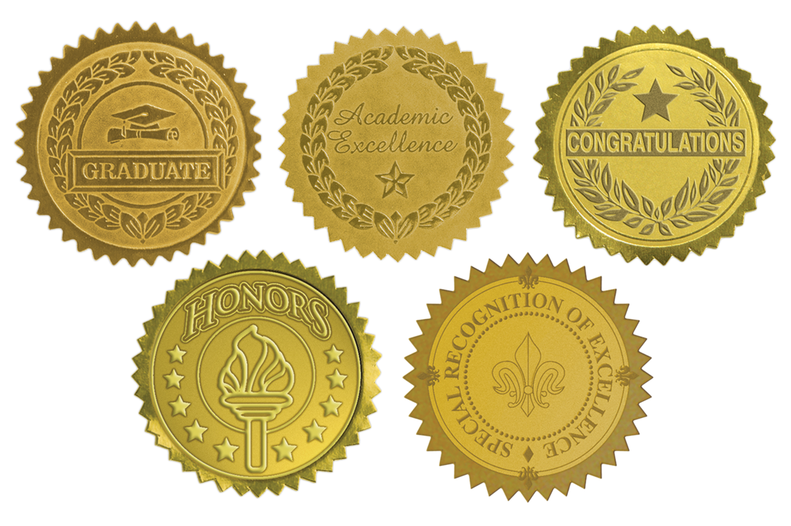 Embossed Foil Seals (1 1/2) Gold Congratulations