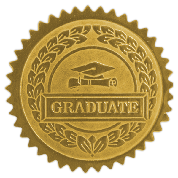 Embossed Foil Seals (1 1/2) Gold Graduate